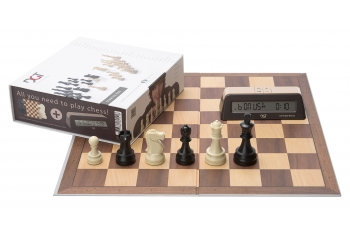 DGT BROWN SET chess pieces + board + DGT1002